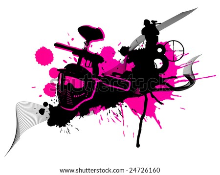 Abstract pink paintball art (logo, background, flyer) - stock photo