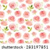Abstract pink roses flower watercolor seamless pattern - stock vector