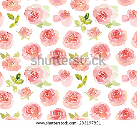 Abstract pink roses flower watercolor seamless pattern - stock photo