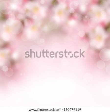 Abstract pink spring blossom background with blurred flowers - stock photo