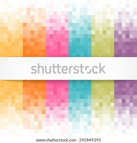 Abstract pixel background with white banner. - stock photo