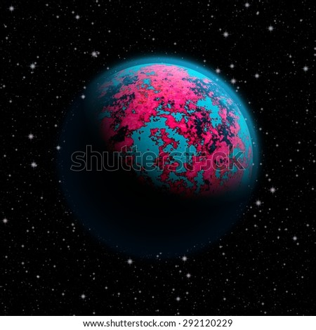 Abstract planet Earth with blue atmosphere and continents covered with a toxic pink cover. Full HD video also available.  - stock photo