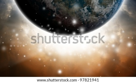 Abstract planet like earth in dark sky with bright light - stock photo