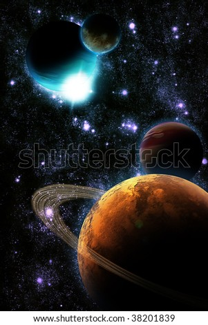 Abstract planet with sun flare in deep space - star nebula against black background - stock photo