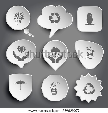 abstract plant, recycle symbol, owl, bird in hands, weather in hands, deer, umbrella, bin, killer whale as recycling symbol. White raster buttons on gray. - stock photo