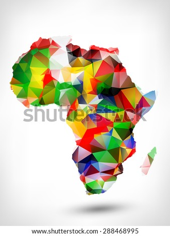 Abstract polygonal geometric design map of Africa painted into state flags colors. Raster version. - stock photo