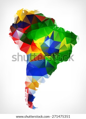 ABSTRACT POLYGONAL GEOMETRIC DESIGN MAP OF SOUTH AMERICA. PAINTED INTO COUNTRIES FLAGS COLORS.Raster illustration. - stock photo