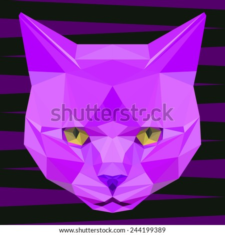 Abstract polygonal geometric triangle bright purple colored cat portrait background for use in design. Raster copy. - stock photo