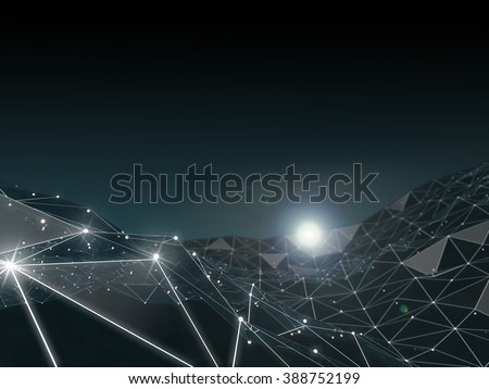 Abstract polygonal space low poly dark background with connecting dots and lines. Connection structure. Futuristic HUD background. - stock photo