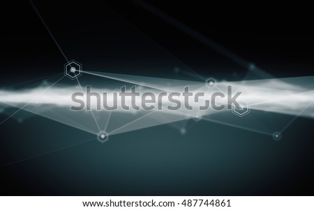 Abstract polygonal with connecting dots and lines. Connection structure. Futuristic HUD background.