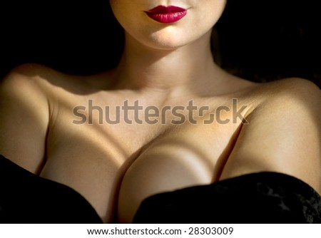 Abstract portrait of beautiful lady in night dress - stock photo