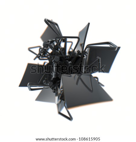 Abstract postmodern chairs. High resolution 3D illustration. - stock photo