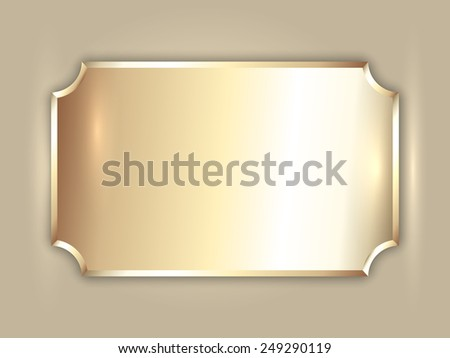 abstract precious metal gold award plate with curved corners and place for text - stock photo