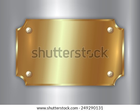 abstract precious metal gold award plate with screws,  curved corners and place for text on silver background - stock photo