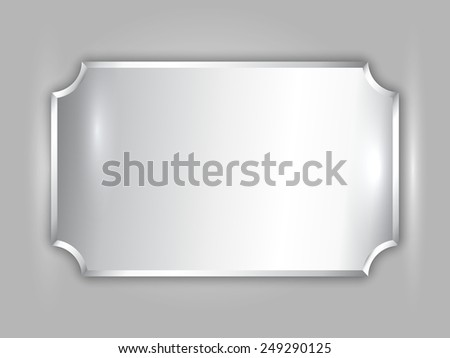 abstract precious metal silver award plate with curved corners and place for text - stock photo