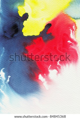 Abstract primary colors watercolor - stock photo