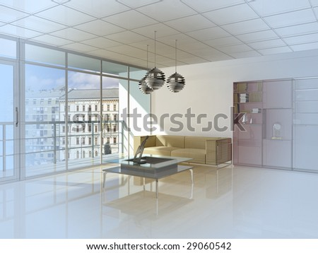 Abstract private apartment 3d rendering, photo behind a window my own. - stock photo