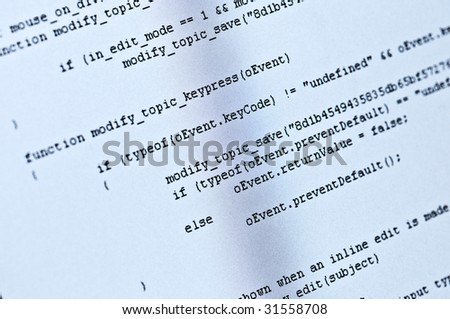 Abstract program code on computer screen
