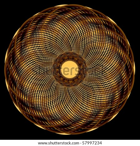 Abstract psychedelic multicolored curl disc. Isolated object. Computer generated fractal - stock photo