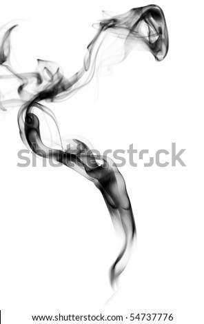 Abstract puff of black smoke over the white background