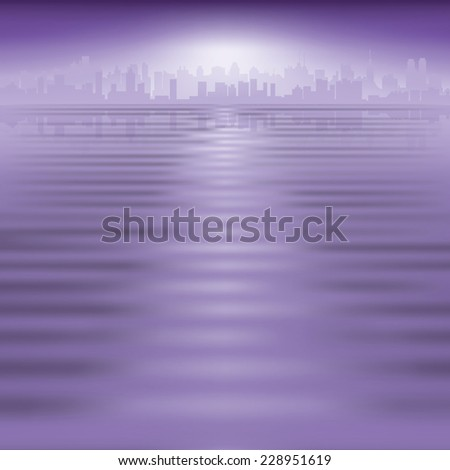 abstract purple background with silhouette of city - stock photo