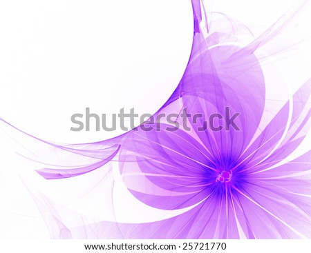 Abstract purple flower with wave, curves and shapes. Futuristic decoration isolated over white background.
