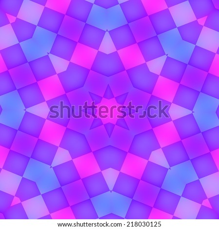 Abstract Purple Glowing Kaleidoscope Background Pattern - Floor Circular Tiles Mosaic - Blue Soft Glowy Decorative Art Illustration - Violet Colored Symmetrical Tiling Structure - Flooring Design - stock photo