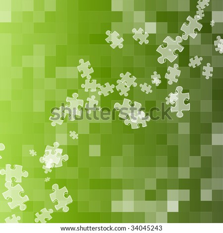abstract puzzle green square background - stock photo