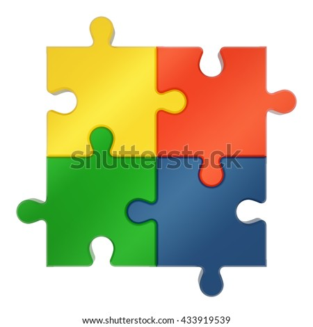 Abstract puzzle pieces isolated on a white background, 3D rendered illustration - stock photo