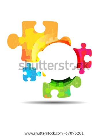 abstract puzzle shape colorful design. Raster image