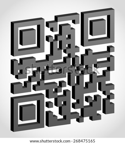 abstract qr code illustration isolated on white background - stock photo