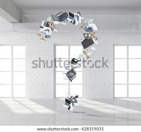 Abstract question mark made of office tools and items in white brick interior. 3D Rendering - stock photo