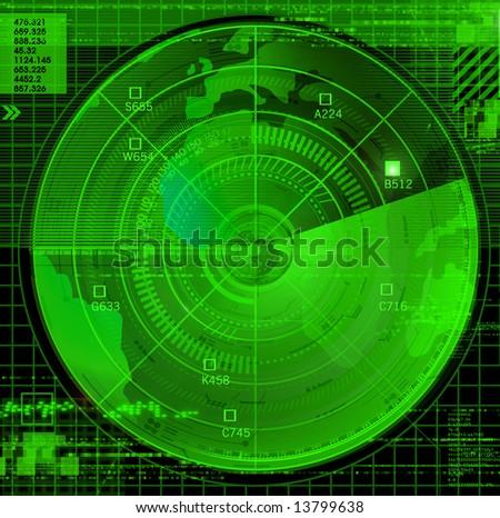 Abstract radar illustration - stock photo