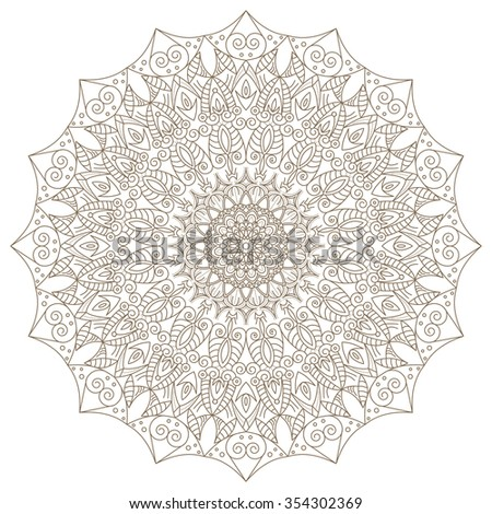 Abstract radial Indian symbol. Geometric circle element. Spiritual and meditation icon. lace ornament. Indian, Arabic, Islam, ottoman motifs. Vintage design element. Raster version. - stock photo