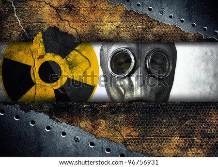 Abstract radioactivity, Man in gas mask - stock photo