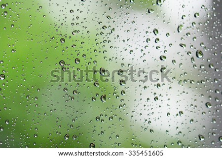 Abstract rain drops and bokeh lights background. Rain drops on window