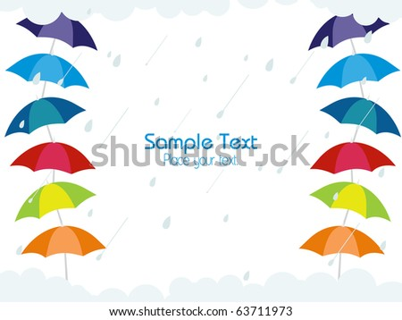 abstract rain falling background with colorful umbrellas