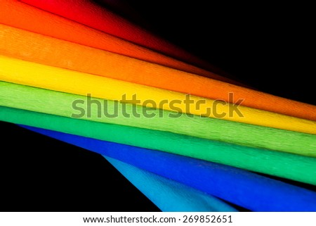 Abstract rainbow background with colored pape - stock photo