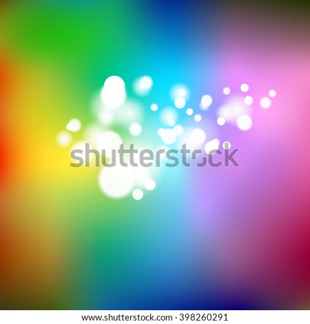 abstract rainbow colored background with bokeh light effects - stock photo