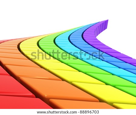 abstract rainbow-colored road in perspective - stock photo