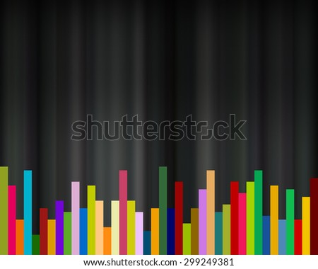 abstract rainbow colors rectangle bars on black background, - stock photo