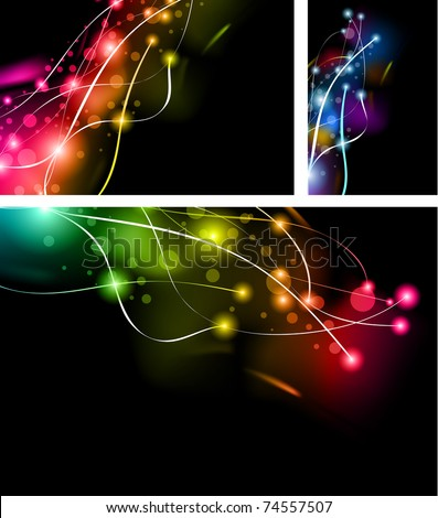 Abstract Rainbow Lights Business Cards Set - stock photo