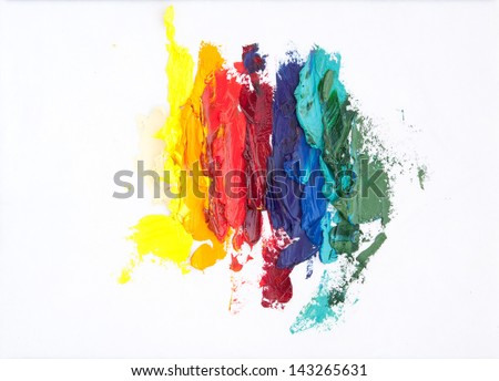 Abstract rainbow-like oil painting made with palette knife - stock photo