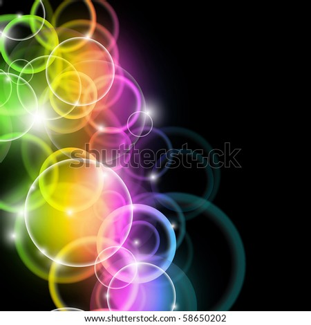 Abstract Rainbow Stars Flyer with delicate Gradient Background - stock photo