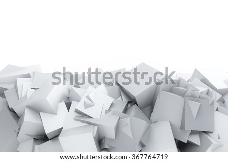 Abstract random white cube background. 3D render on white
