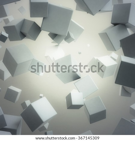 Abstract random white cubes background, 3d render
