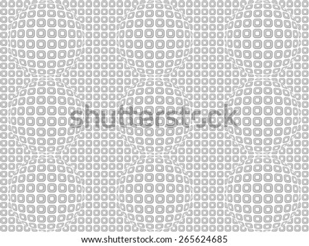 Abstract raster background from gray rounded rectangles on white spherized in six points - stock photo