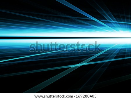 Abstract rays futuristic blue background texture - stock photo