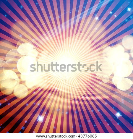 Abstract rays on a dark blue, background - stock photo