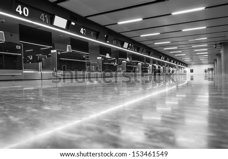 Abstract real interior with lights in shining corridor - stock photo